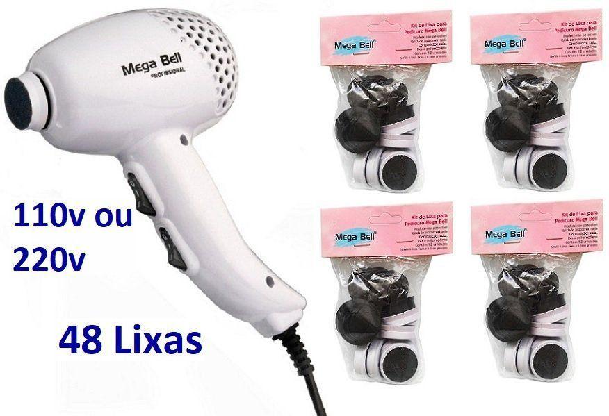 Pedicuro Elétrico Esfoliador Lixa Elétrica para os Pés Branco + 48 Lixas Descartáveis (Escolha a Voltagem)