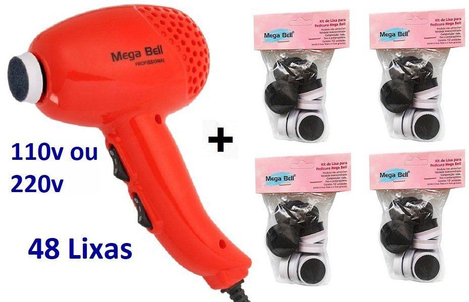 Pedicuro Elétrico Esfoliador Lixa Elétrica para os Pés Laranja + 48 Lixas Descartáveis (Escolha a Voltagem)