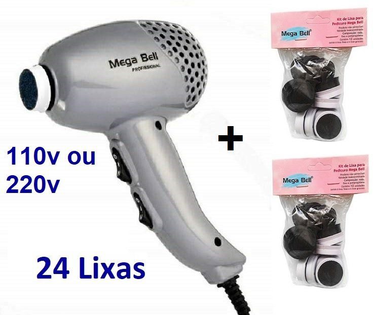 Pedicuro Elétrico Esfoliador Lixa Elétrica para os Pés Prata + 24 Lixas Descartáveis (Escolha a Voltagem)