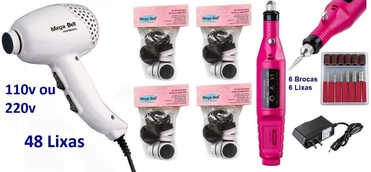 Pedicuro Elétrico Esfoliador para os Pés Branco + 48 Lixas + Lixa Elétrica Importada
