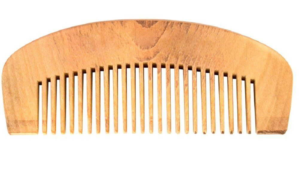 Pente Grande de Madeira Meia Lua Para Barba Barbeiro