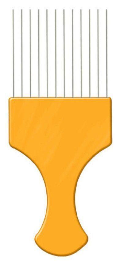 Pente Plástico Afro Laranja Com Dentes Finos de Aço