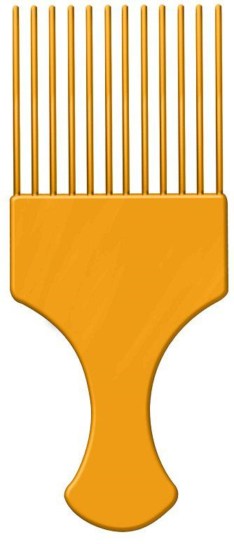 Pente Plástico Afro Laranja Com Dentes Finos - Santa Clara