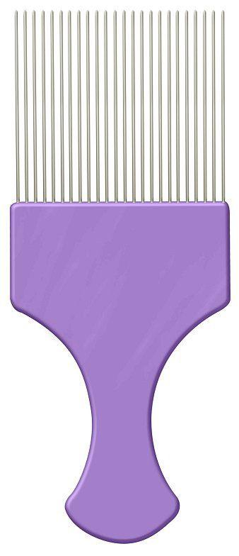Pente Plástico Afro Lilás Com Dentes Finos de Aço