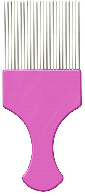 Pente Plástico Afro Pink Com Dentes Finos de Aço