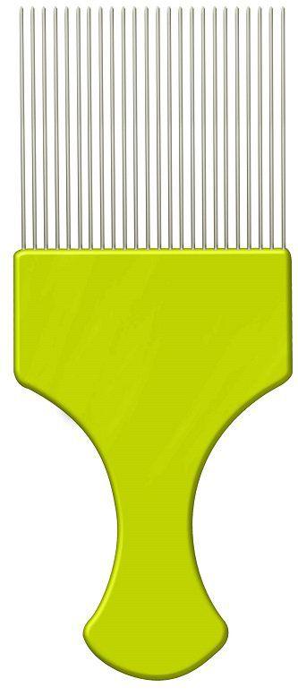 Pente Plástico Afro Verde Com Dentes Finos de Aço