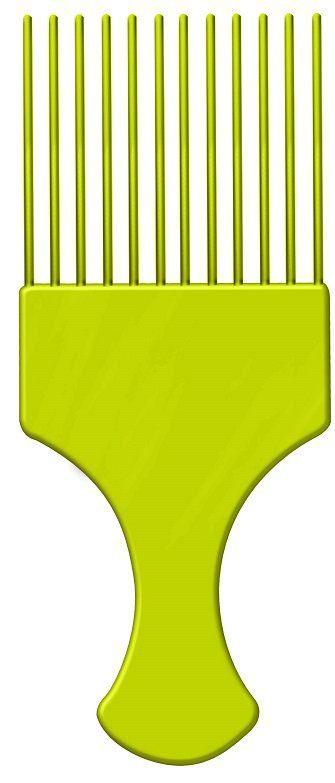 Pente Plástico Afro Verde Com Dentes Finos - Santa Clara