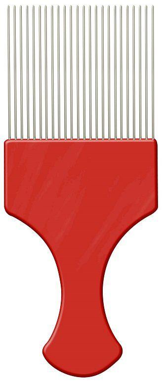Pente Plástico Afro Vermelho Com Dentes Finos de Aço