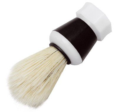 Pincel de Barba com Pelo Natural Branco e Cabo Plástico