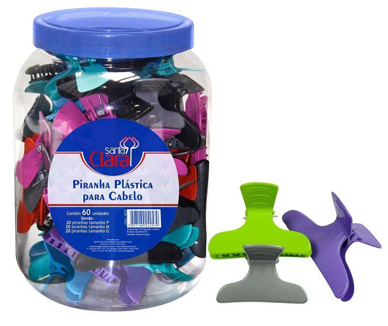 Piranha Colorida Plástica Pote com 60 Unidades - Santa Clara