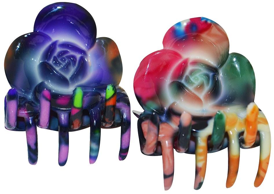 Piranha Plástica Estampada Para Cabelos Formato de Rosas Com 2 Unidades