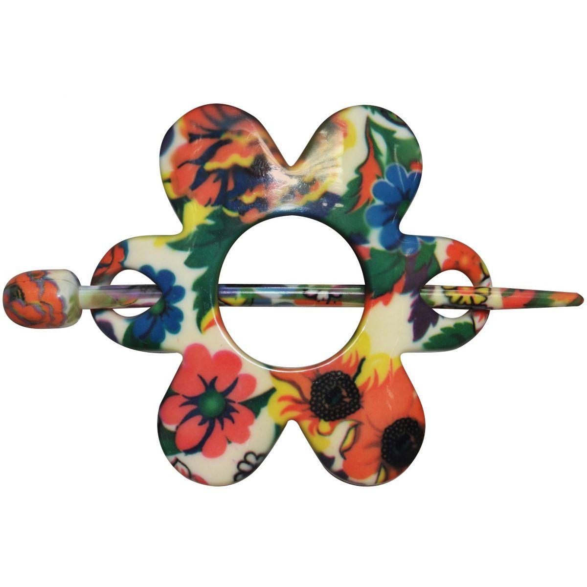 Prendedor Especial Estampada Formato Flor Para Cabelos - 2 Unidades