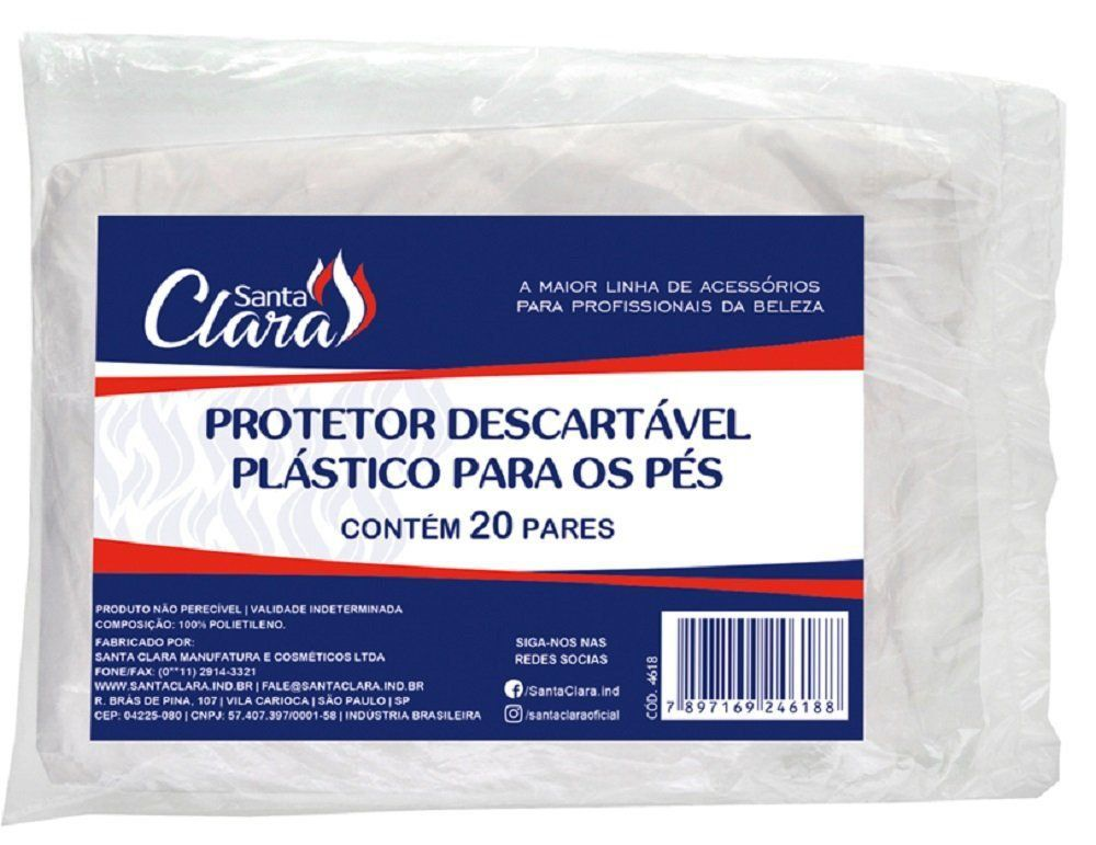 Protetor Descartável Plástico para os Pés Botinha Plástica c/ 20 Pares