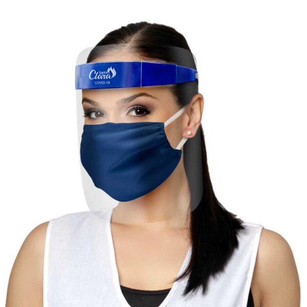 Protetor Facial Plástico + Máscara Em Top Tel Azul – Santa Clara