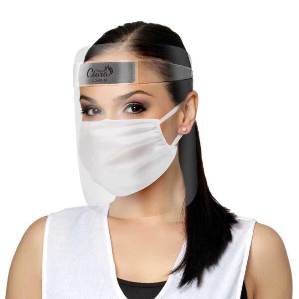 Protetor Facial Plástico + Máscara Em Top Tel Branca – Santa Clara