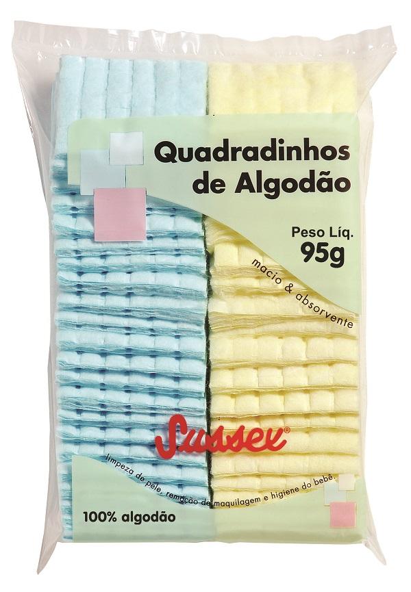 Quadradinhos de Algodão Hidrófilo Coloridos Sussex - 95g
