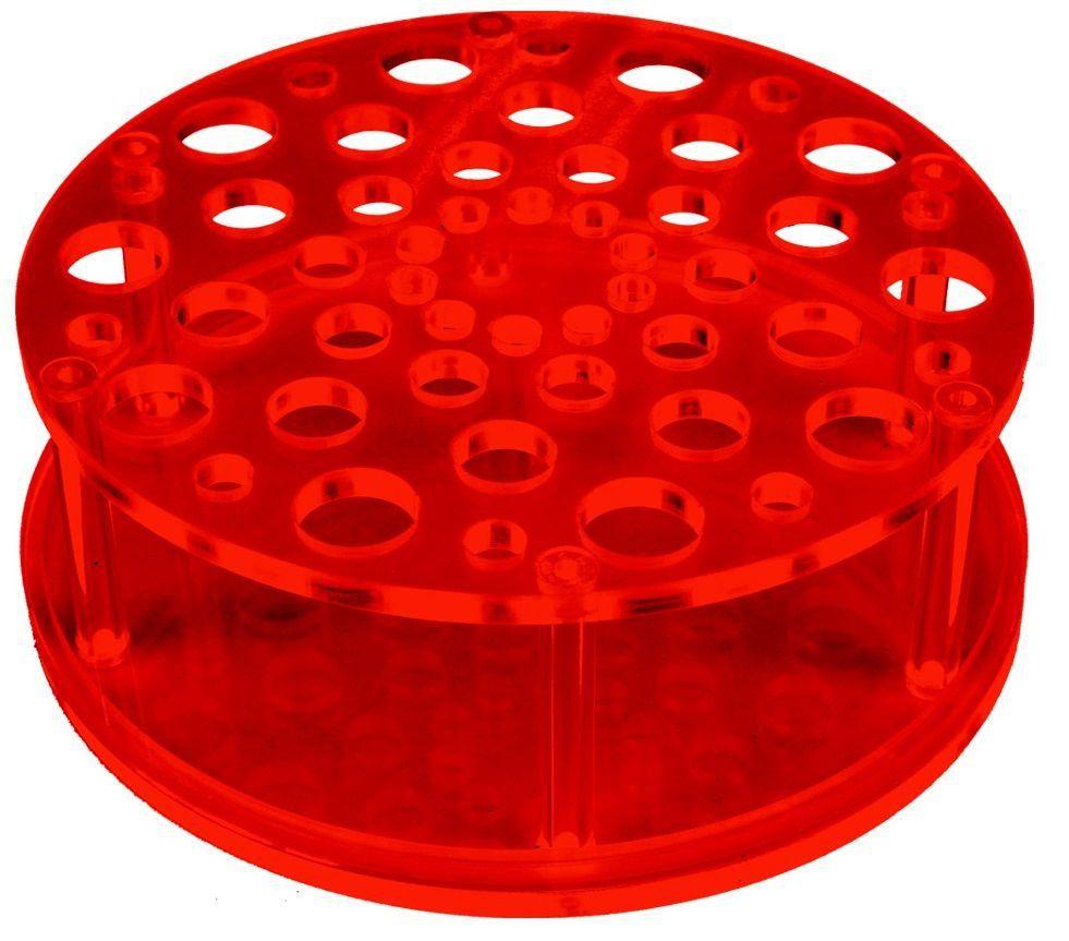 Suporte Acrílico Redondo Vermelho com 50 Cavidades para Pincéis - Santa Clara