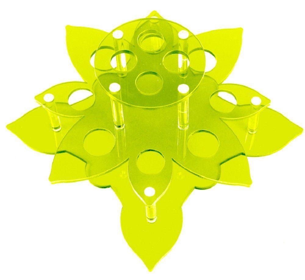 Suporte em Acrílico Verde Limão Para Batom e Gloss com 12 Cavidades - Santa Clara