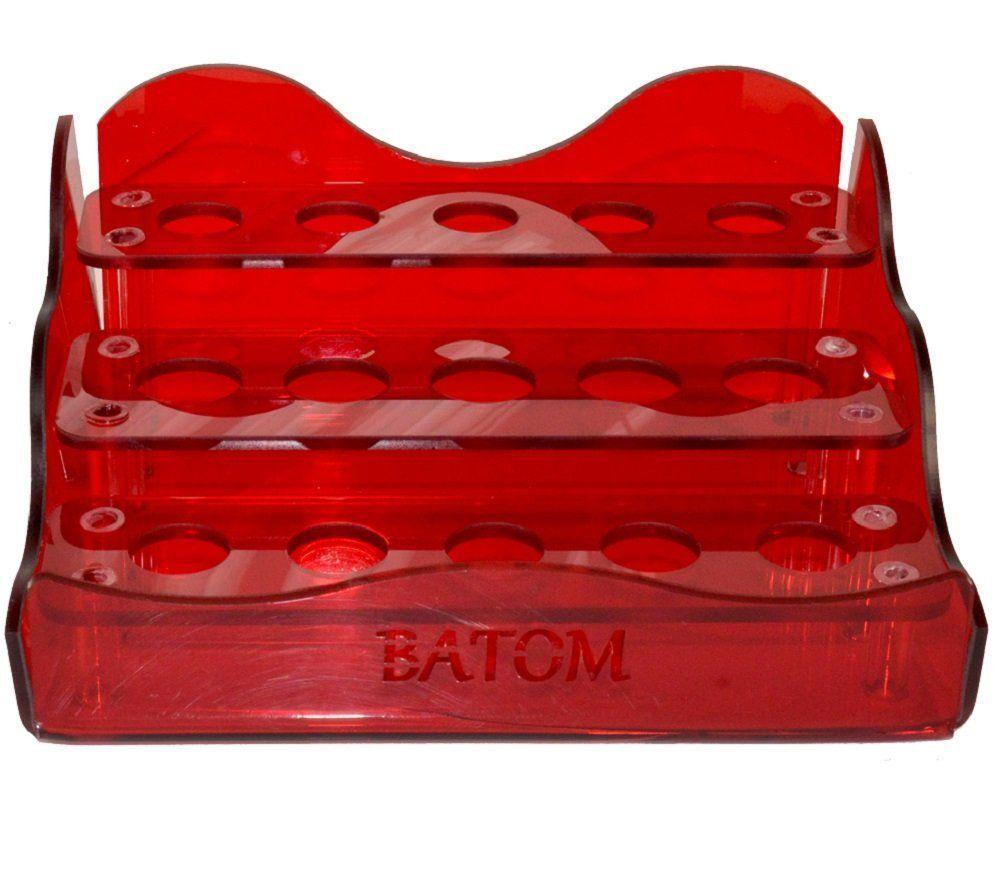 Suporte em Acrílico Vermelho Para Batom com 15 Cavidades - Santa Clara