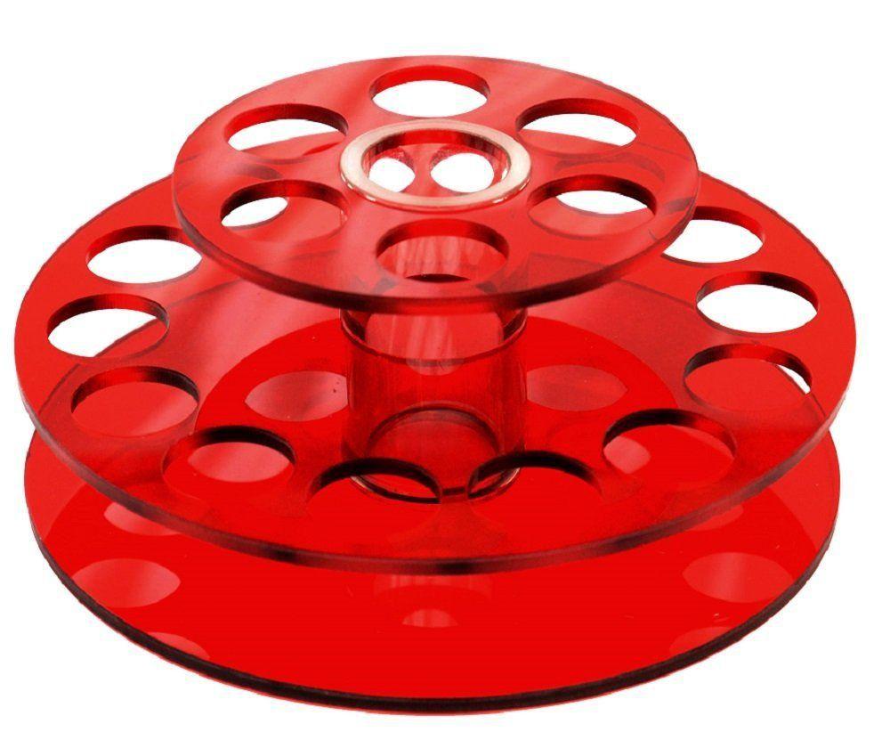 Suporte Redondo Em Acrílico Vermelho Para Batom e Pincel Com 21 Cavidades - Santa Clara