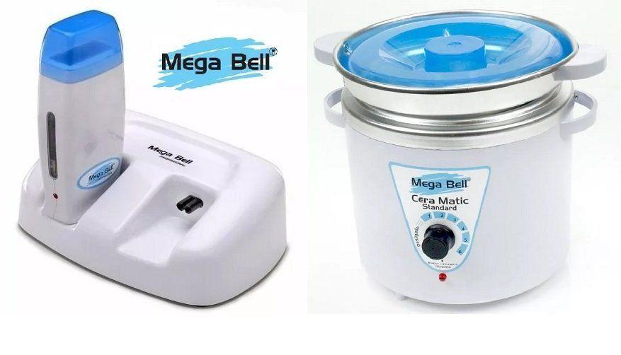 Termocera Panela Depilação 900g  c/ Refil + Base Dupla c/ 1 Rollon Branco c/ Azul Mega Bell