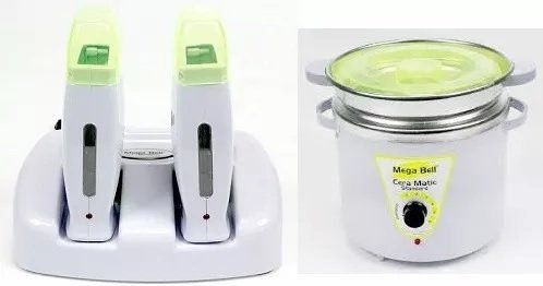 Termocera Panela Depilação 900g Com Refil + Base Dupla c/ 2 Rollon Branco E Verde Limão Mega Bell