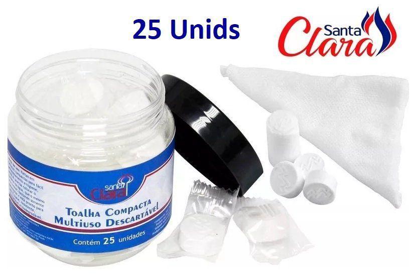 Toalha Desidratada Compacta Descartável 25 Unids - Santa Clara