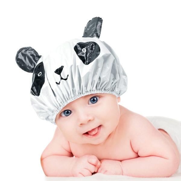 Touca Branca Em PVC Perfumado Modelo Infantil Para Banho