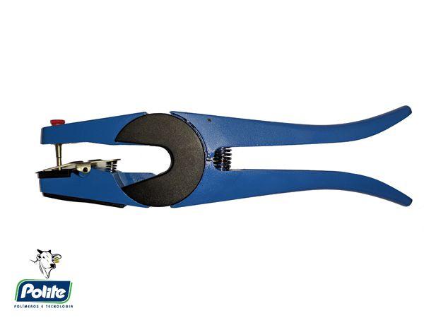 Alicate Aplicador de Brincos Azul com Agulha Extra