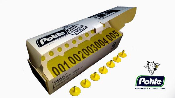 Caixa com 200 Cj Brinco Médio Bovino Personalizado (Nome, logomarca, desenho) para Manejo de Gado e Macho com Ponta Metalica