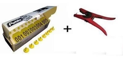 Kit Caixa com 50 Cj Brinco Grande Bovino Numerado Reutilizavel para Manejo de Gado e Macho com Ponta Metalica + Alicate Aplicador  Zooflex