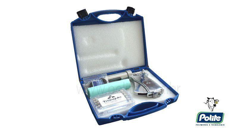 Seringa Veterinária Automática para Gado Bovino 50 ml Triângulo - Maleta Multifuncional