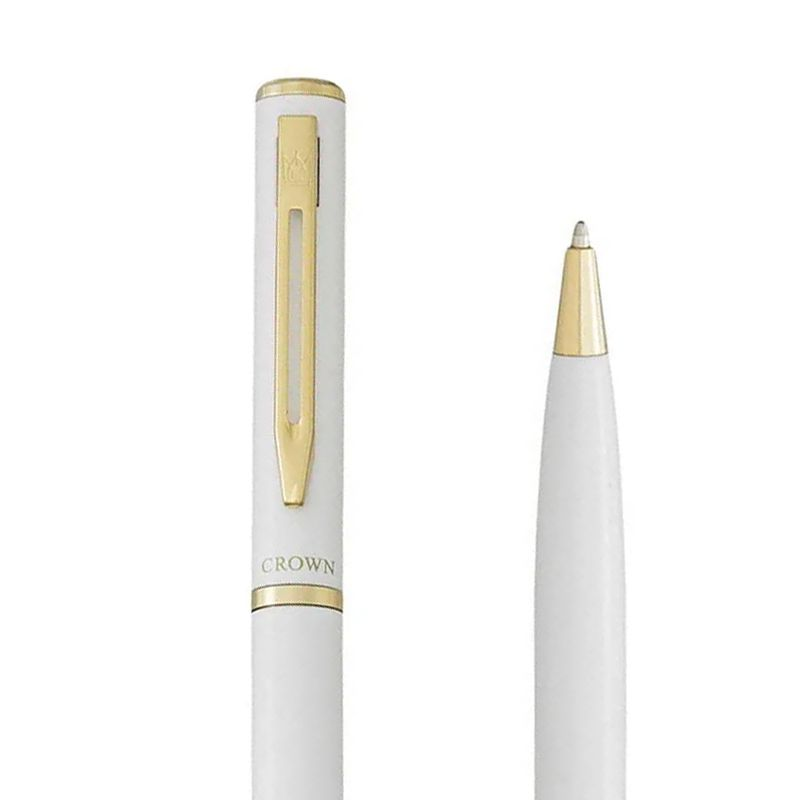 Caneta Crown Capricci Esferográfica Branca YW12601B