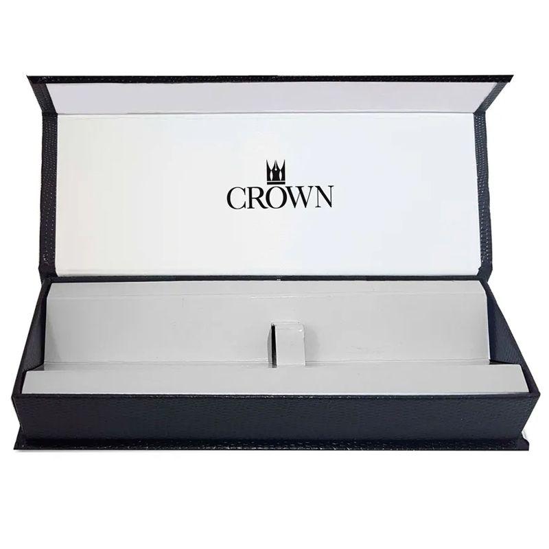 Caneta Crown President Tinteiro Cromada e Dourada YW39840S