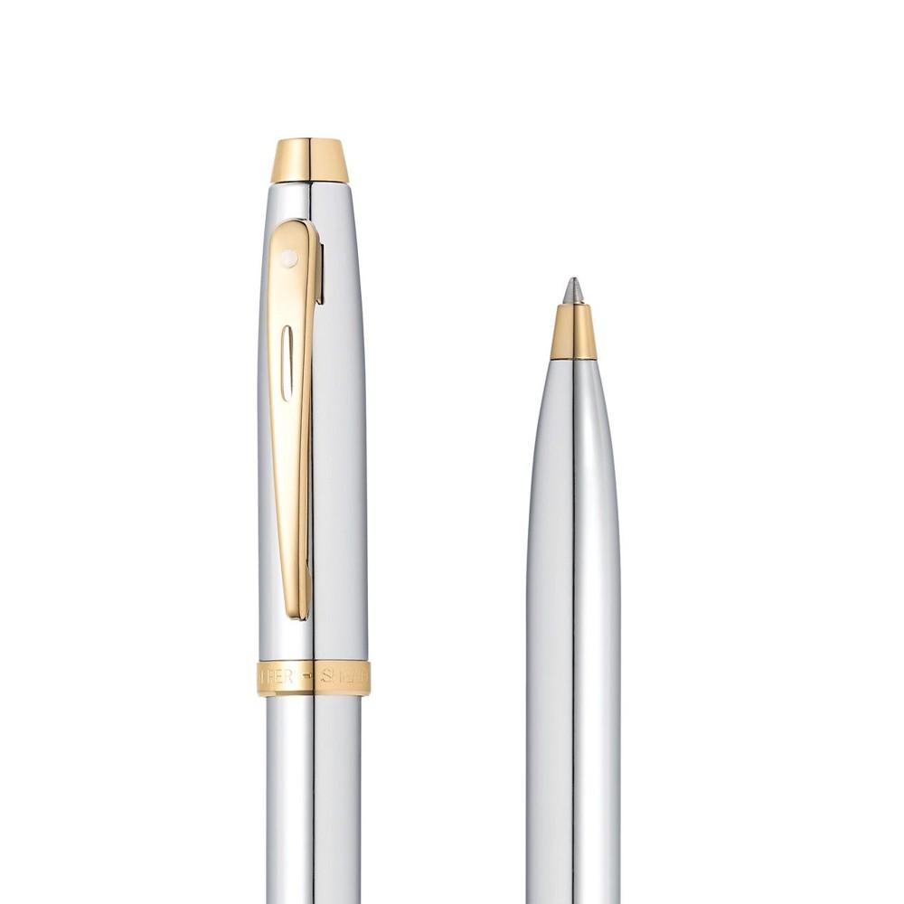 Caneta Sheaffer Gifty 100 Esferográfica Cromada com detalhes dourado E2934051-30