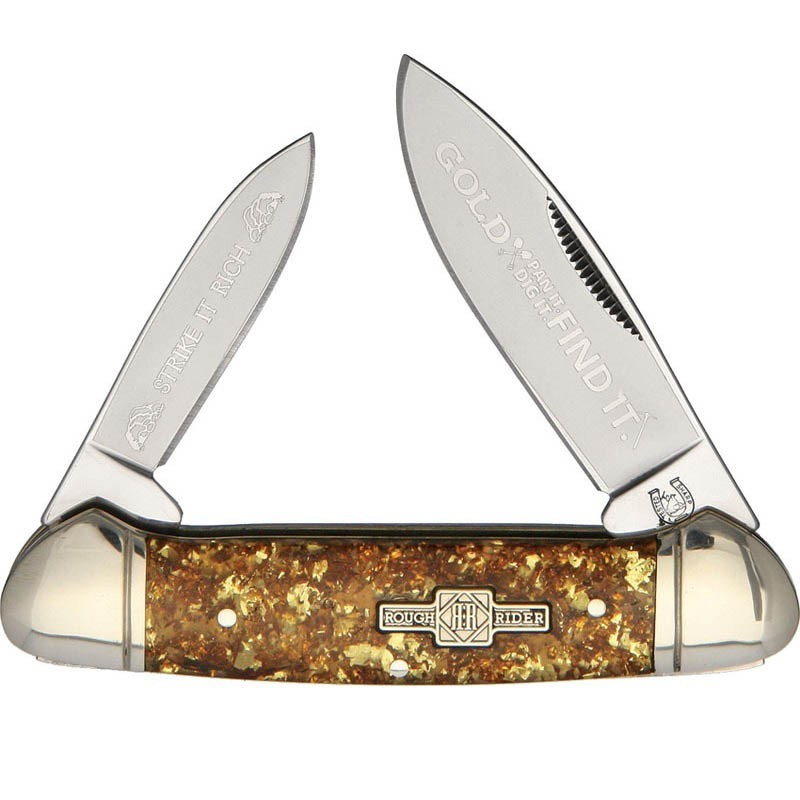 Canivete Rough Rider Gold Flake Canoe 9.2 cm RR1521