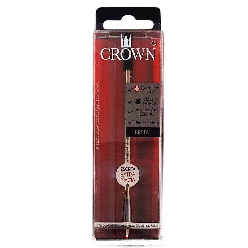 Carga  Crown Preta Esferográfica padrão Cross CA12009P