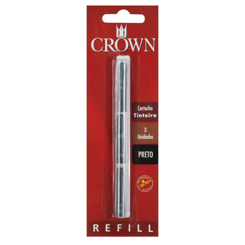 Cartucho para Caneta Tinteiro Crown Preto CA32005P