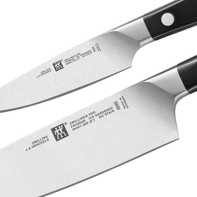 """Conjunto de faca Zwilling Pro Chef 8"""" e guarnecer 4""""  38430-004"""