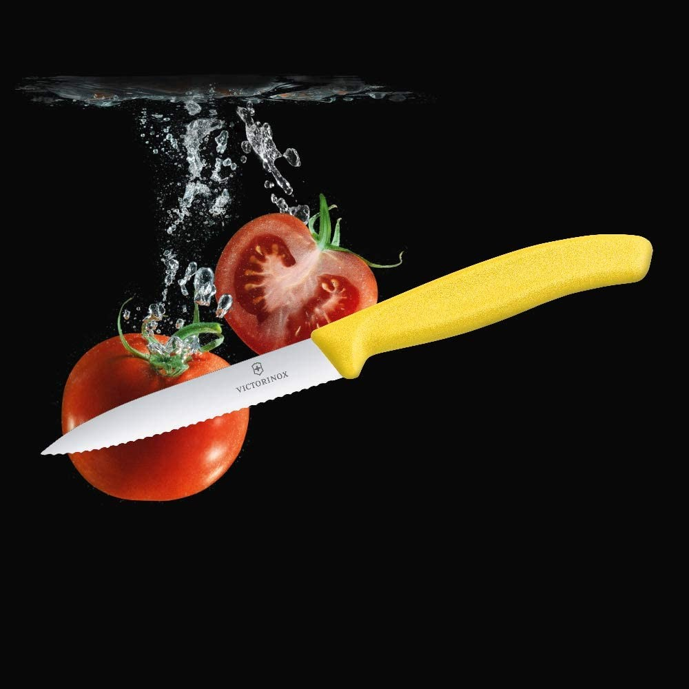 Faca Victorinox amarela para legumes lamina serrilhada 10 cm 6.7736.L8