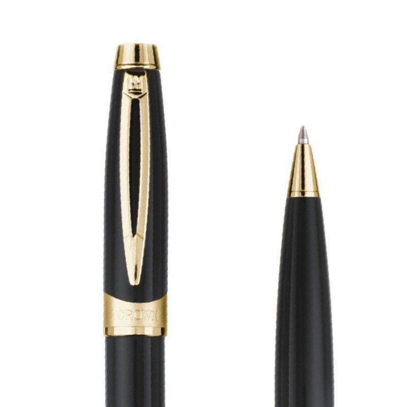 Kit caneta Crown Picasso Esferográfica Preta e Cromada