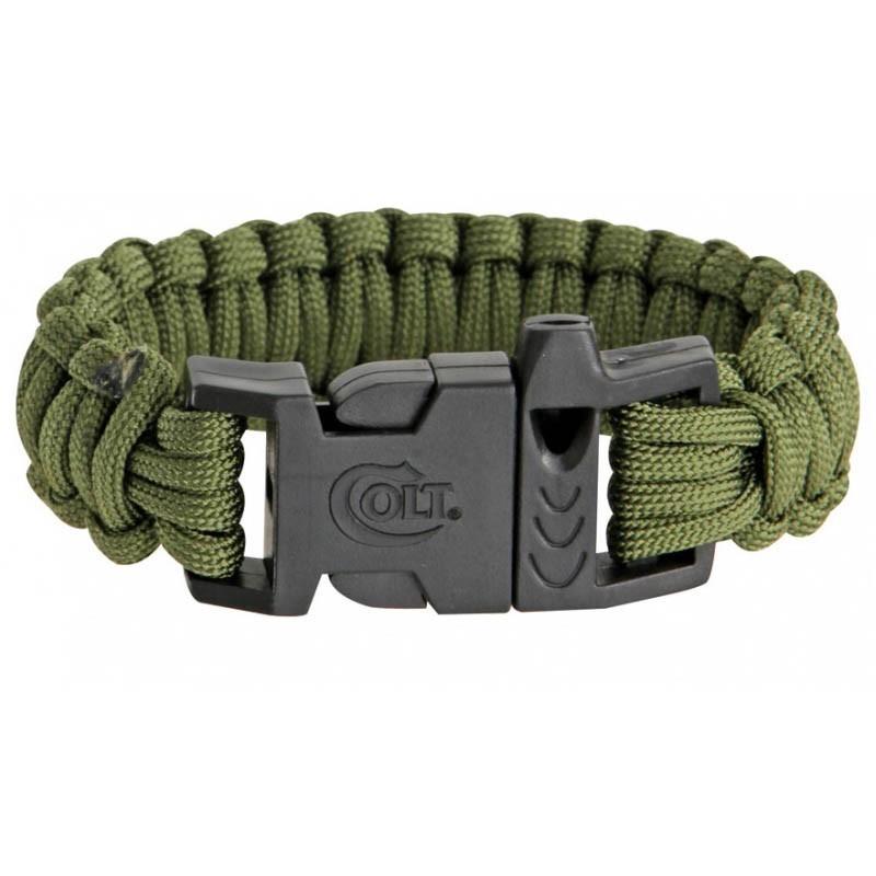 Pulseira de paracord Colt verde militar com apito CT3016