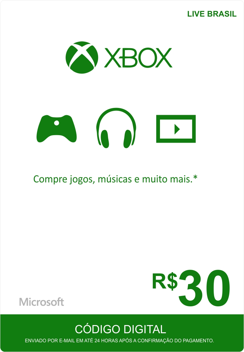 Cartão XBOX Live R$30 (Live Brasil)