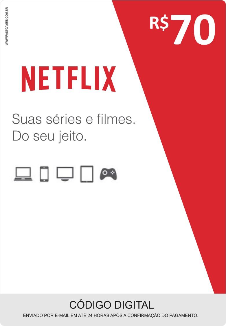 Cartão Pré-Pago Netflix R$70  - FastGames
