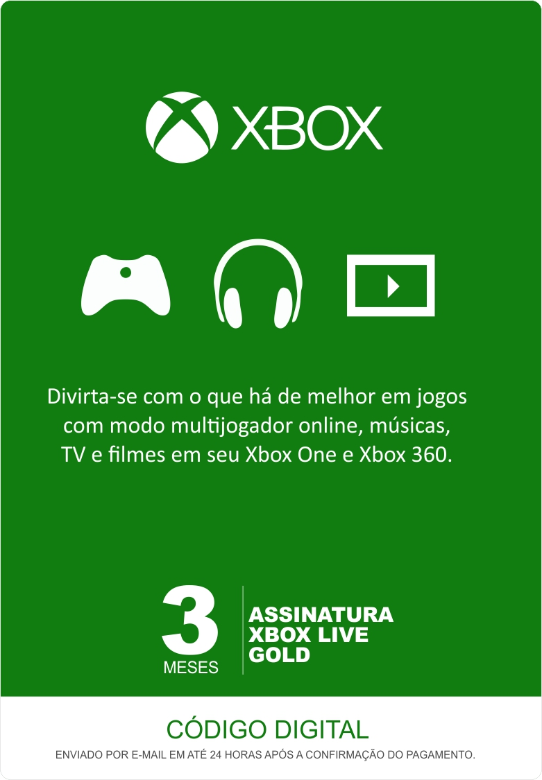 Xbox Live 3 Meses Gold Card (Live Brasil)  - FastGames