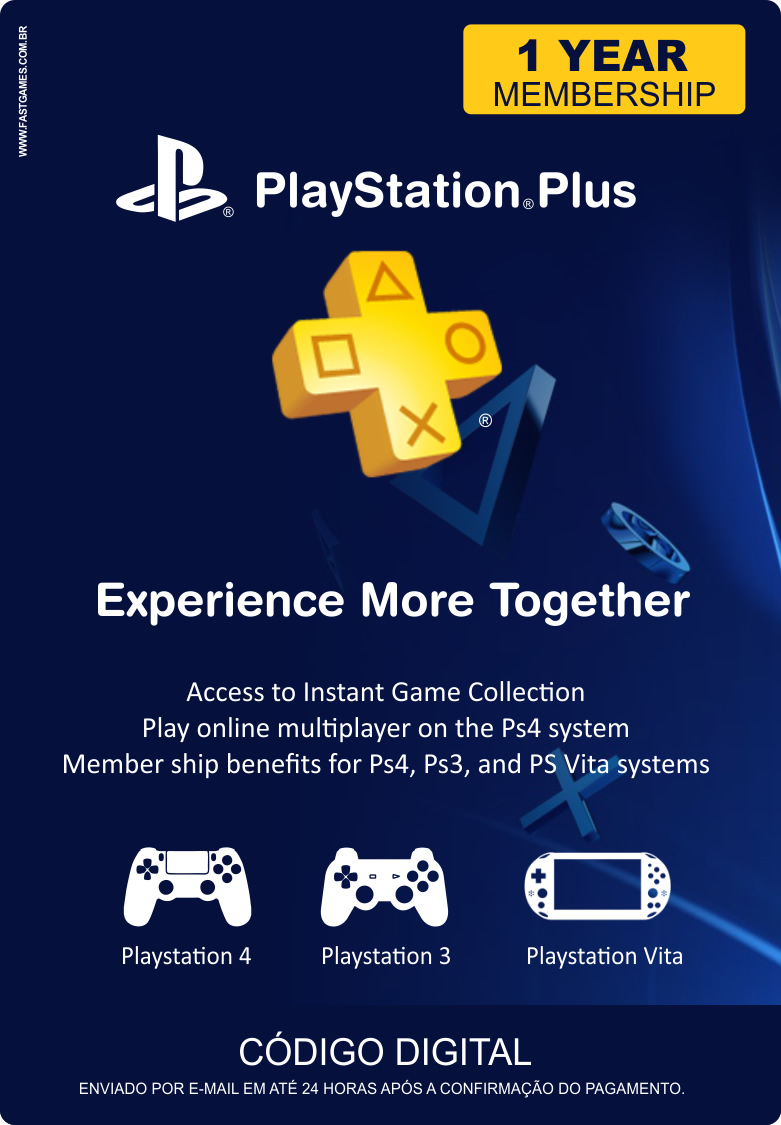 Cartão PSN Plus 12 Meses (PSN Americana)  - FastGames