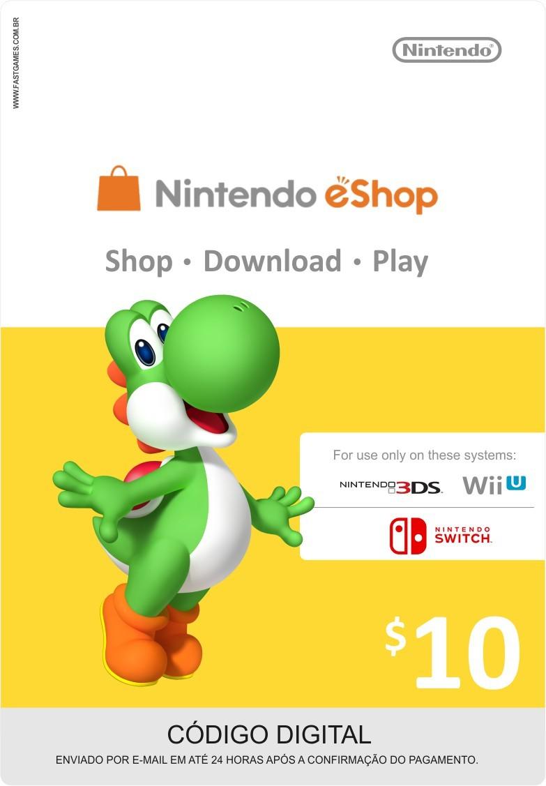 Cartão Nintendo Wii U / 3DS eShop Cash $10