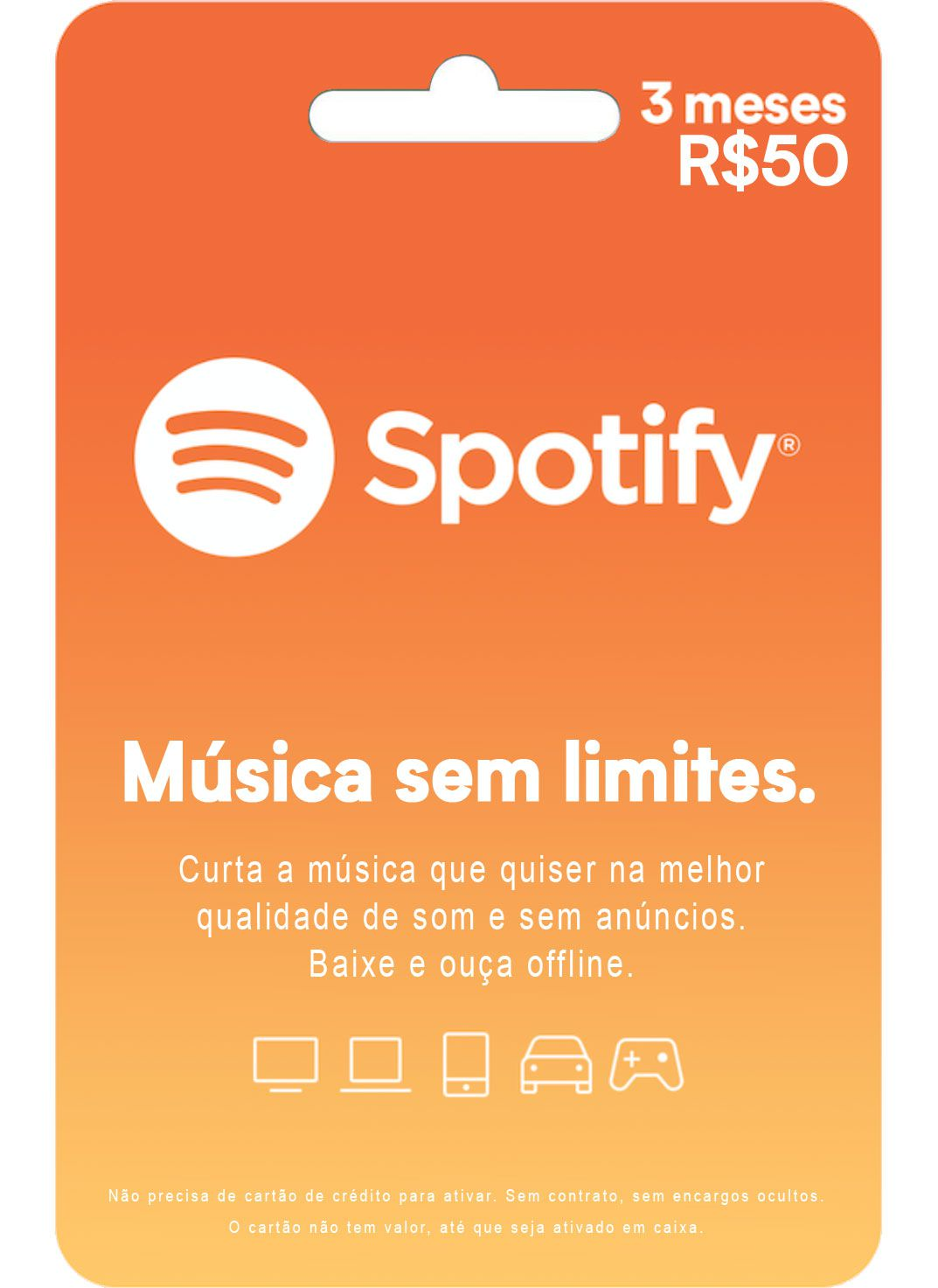 Cartão Presente Spotify PREMIUM 3 Meses