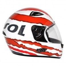 Capacete Moto Repsol Ebf E0X Branco/Vermelho Fechado