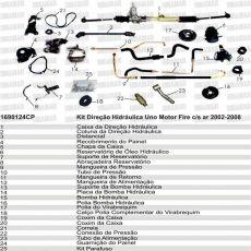 Kit De Direção Hidráulica Do Fiat Uno Fire Fiorino Fire De 2002 Até 2008 (Modelos Com Ou Sem Ar Condicionado)